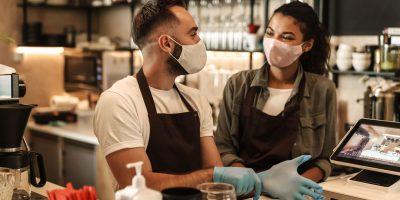 Coffee Shop Owners With Face Masks Lockdown Quaran TWARAZP