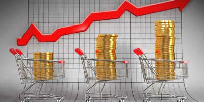 Sales growth. Shopping basket with coins. 3d