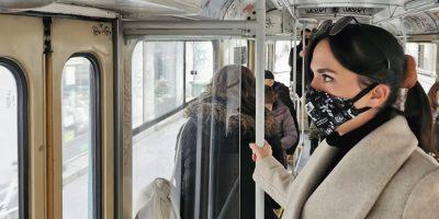 Young Woman In Public Transport Wearing Mask Covid U4WXQUN